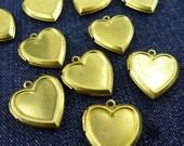 10 pcs 22 X 24 X 5 mm Metal Victorian Locket Charms Pendants, Golden, Heart - 10500027-010