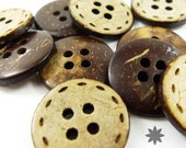 4-Holes 18mm Coconut Button with Etched Pattern, Natural Brown, Round, 18 X 18 X 3 mm (Set of 10) - 10000187-010
