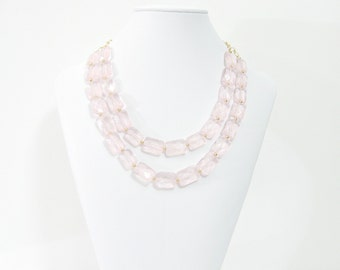 Rose Quartz Blush pink statement necklace and earring set, double strand