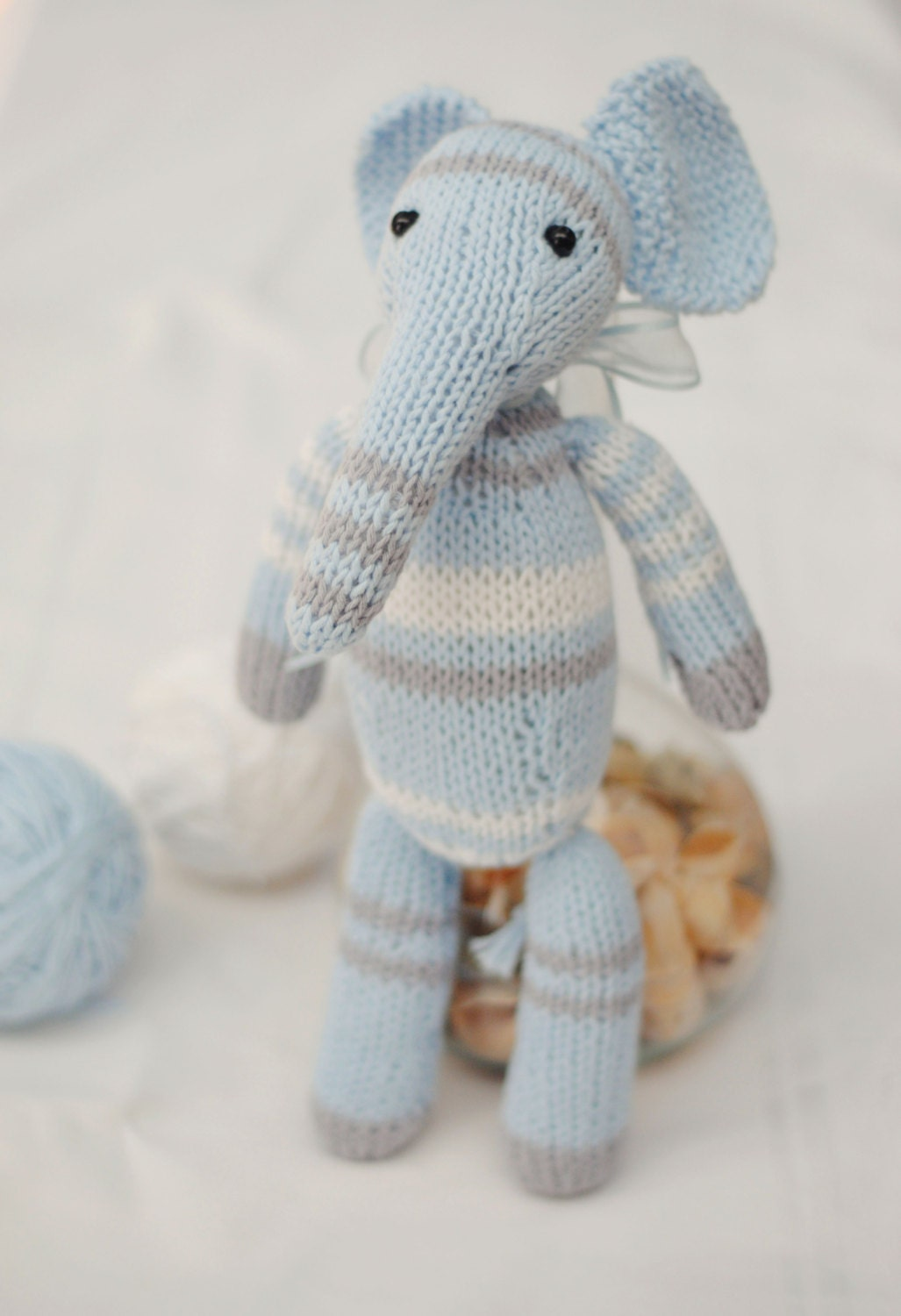 Knitting Toys For Babies : Stuffed elephant knit animal knitted toys plush