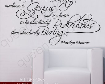 Marilyn Monroe Imperfection Is Beauty Life Inspiration Wall Quote Vinyl Art Decal Sticker Home Decor