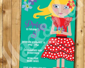 Custom Printable Invitation - DIY CUSTOM Printable Flamenco Girl Party Invitation