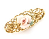 Vintage Pastel Pink Porcelain Rose Brooch Pin Gold Cut Out - EA163
