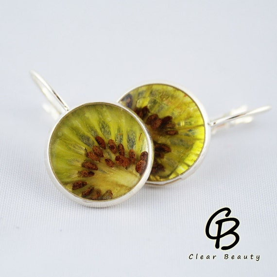 Beautiful Real Fruit Resin Kiwi Earrings K11