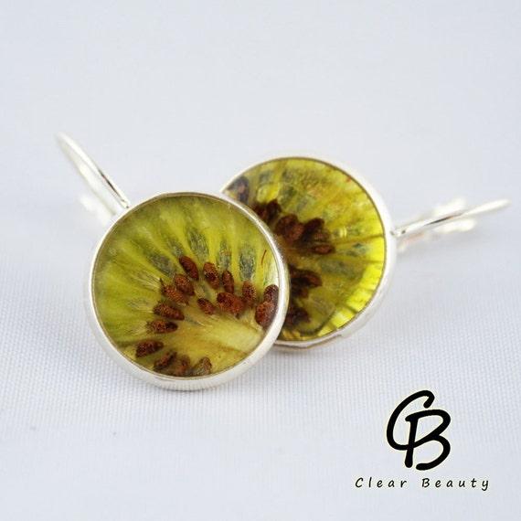 Beautiful Real Fruit Resin Kiwi Earrings K11