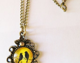 Yellow Bird Necklace, Silhouette Necklace, Antique Bronze jewerly, Glass Dome Cabochon, Birthday Gifts