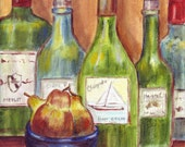 Wine Bottles -  print of acrylic original 8.5 x 11 inches