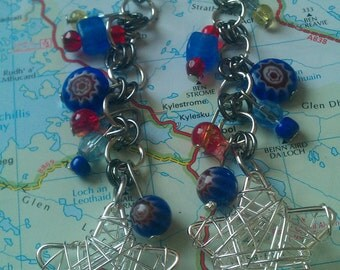 Millefiori chainmaille earrings