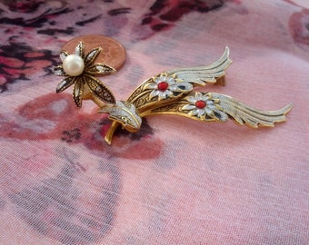 Unusual Damascene Goldtone Brooch - Wings and Flower with Pearl and Red Detail
