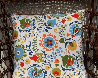 Summer Suzani Vine Pillow Cover//Throw Pillow//20 inch Pillow Cover