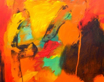 LADY original acrylic abstract painting on stretched canvas 24 x 18 medium painting