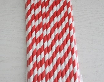 25 Paper Straws - Red Stripes