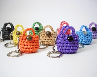 Crochet Purse Keychain Pattern : Eco Friendly Mini Purse Keychain, Lucky Penny Holder ...