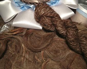 raw suri alpaca fiber - natural med. rose grey