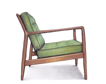 Mid Century Modern Danish Teak Chair Drawing, Spring Green - 8x10