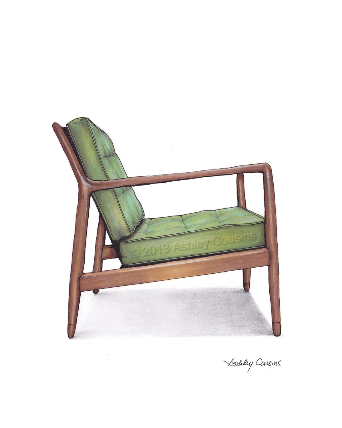 mid century modern danish teak chair drawing spring green