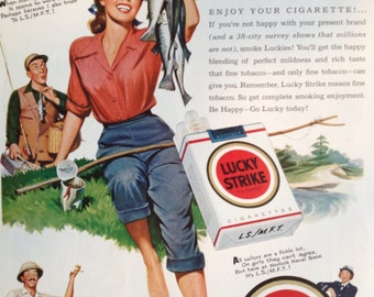 Vintage 1951 Lucky Strike Ad, Paper Ephemera taken from a Ladies Home Journal.