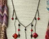 Necklace, Ooak, Red, Aqua Terra Jasper, Copper, Handmade, Hammered, Unique