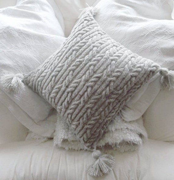 Aran Cushion Knitting Patterns : Aran Trellis Cable Cushion/Pillow Hand by TheDesignStudioKnits