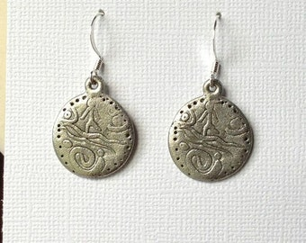 Ancient Coin Scene Earrings Silver