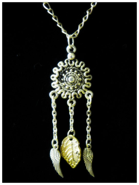 Handmade Silver Necklace with Pendants in Silver & Gold by IreneDesign2011