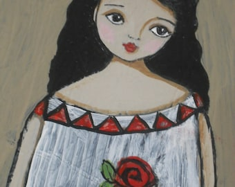 LG Folk Art Rose Angel Painting On Recycled 28 X 13 Cabinet Door Textured Finish