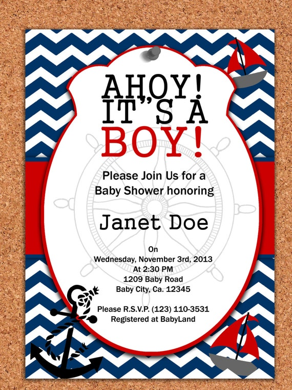 Soft image within nautical baby shower invitations printable