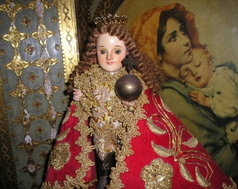 Vintage Elaborate Religious Infant of Prague Wood Carved Santo Nino w/Glass Eyes,Vestment&Crown Folk Art Devotional Icon Figure