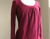 Long Sleeve women's Shirt Cotton Jersey loose fit Bubble hem pleated neckline blouse casual top burgundy cotton shirt  Made to Order