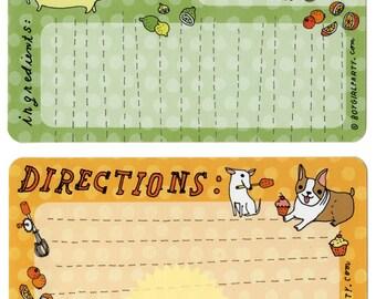 Recipe Cards Dog Illustrations - Cute Recipe Cards 4x6 - Retro Cupcake Dog Boygirlparty Etsy