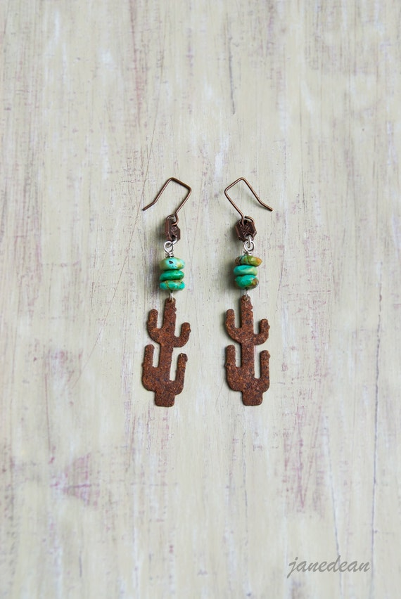 Rusty Cactus Earrings - stacked turquoise beads and copper