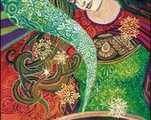 Cerridwen's Cauldron Psychedelic Art Nouveau Pagan Goddess 5x7 Greeting Card