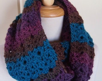 Infinity Scarf Circle Cowl - teal purple and brown