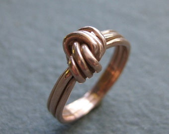 rose gold knot engagement ring yellow gold 14kt Made to Order size no stone ring
