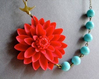 Statement Necklace Valentines Gift Women Gift Flower Necklace Red Necklace Gift Aqua Necklace Wedding Necklace Bridesmaid Gift Gift For Her