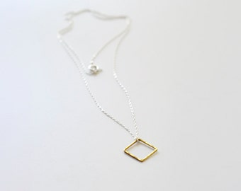 Min - hammered open brass diamond sterling silver geo necklace - minimal jewelry