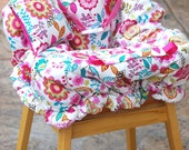 Shopping Cart Cover - Boutique Shopping Cart Cover for Baby Girl  - Floral with Teal Scroll
