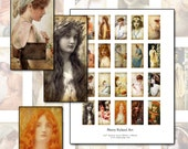 "Henry Ryland 1x2"" domino digital collage sheet  25x50mm 25mm x 50mm fine art paintings of beautiful women"