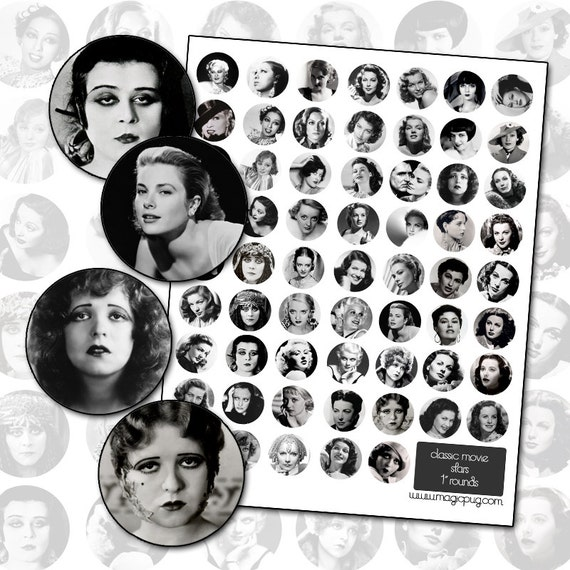Classic Black and White Movie Stars Digital Collage Sheet 1inch 25mm circle round circles Golden Age of Hollywood cinema stars