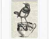 bird I and tea cup print