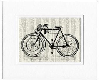 motorcycle - antique motorized bike print
