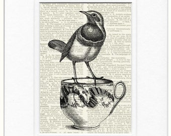 bird I and tea cup print