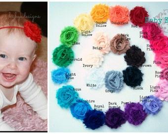 5 or 10 pack Shabby Chic Frayed Flower Baby Headbands Girls Headband / Newborn Headbands / STELLA  Frayed Chiffon Fabric Rosette Headband