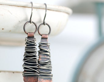 Copper Earrings, Hammered Copper Earrings, Long Dangle Earrings, Metalwork Earrings, Statement Earrings, Rustic Earrings - Dream Weaver