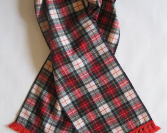 Scarf - in vintage fuzzy red, navy, dark green, yellow, and off-white woolly plaid, with vintage red fringed gimp trim