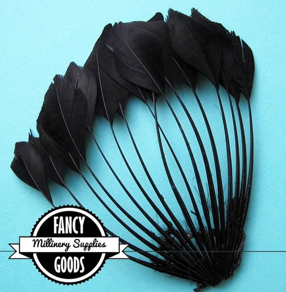1 - Black - Trimmed Goose Feather - Pointer Pad - for - Millinery - Fascinators - Headbands - Bridal