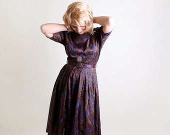 Vintage 1960s Dress - Dark Floral Day Dress is Deep Blue, Purple, and Green Jewel Tones - Medium