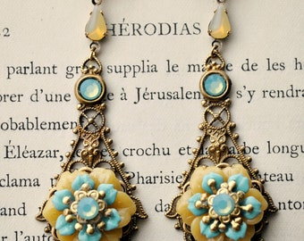Pastel Paradise - very long dangle earrings featuring Celadon sea foam blue and sunshine yellow celluloid  flowers on antique gold filigree