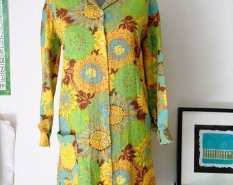 House Coat Vintage 1960's Mod Dress Women Size Small Mod Coat Sunflower Coat Green Yellow and Blue