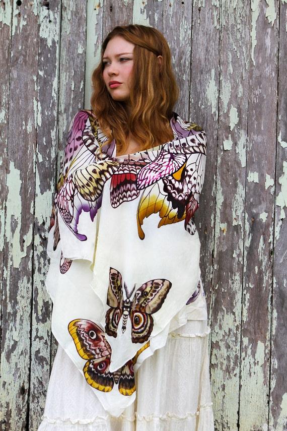 Bohemian Wedding Shawl, Butterfly Wings Scarf, Bridal Shawl, Spring Scarf, Large Shawl, Artistic Gift, Boho Scarf, Summer Shawl, Women Shawl